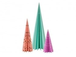 Table decorations - standing paper fir trees (pack of 3)