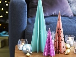 Décoration de table Sapins en papier à poser - lot de 3