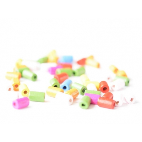 50 perles en bois vernis - Tube 10 mm
