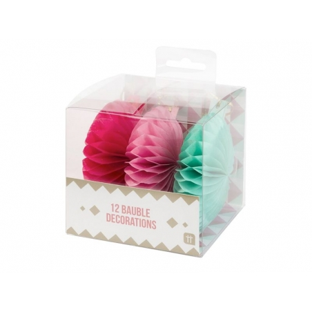 Christmas honeycomb paper balls in pink and mint - pack of 12