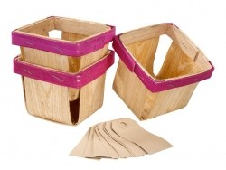 Small wooden baskets - Set of 3