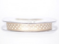 Satin ribbon spool with polka dots - taupe