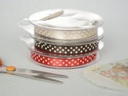 Satin ribbon spool with polka dots - taupe