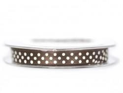 Satin ribbon spool with polka dots - brown