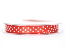 Satin ribbon spool with polka dots - red