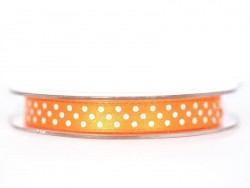 Satin ribbon spool with polka dots - orange
