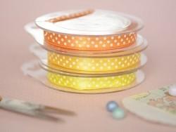 Satin ribbon spool with polka dots - orange