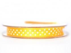 Satin ribbon spool with polka dots - dark yellow