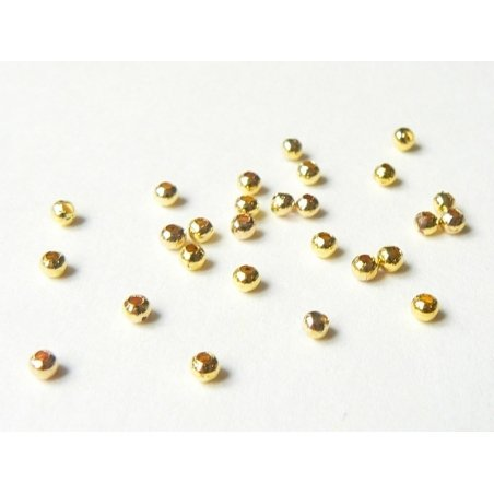 100 gold-coloured metal beads - 2.4 mm