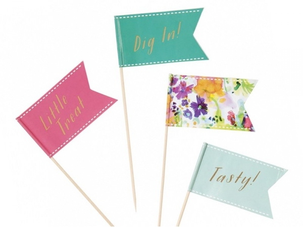 24 big toppers - Floral and pastel-coloured flags