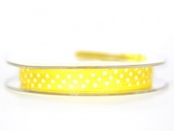 Satin ribbon spool with polka dots - yellow