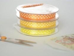 Satin ribbon spool with polka dots - yellow