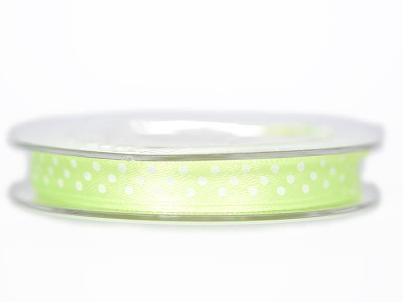 Bobine de ruban satin à pois - vert clair