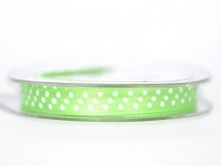 Satin ribbon spool with polka dots - medium green