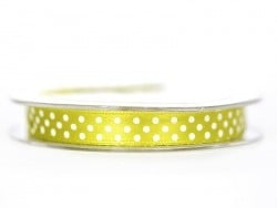 Satin ribbon spool with polka dots - pistachio green