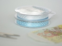 Satin ribbon spool with polka dots - sky blue