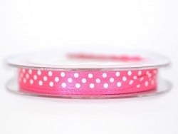 Satin ribbon spool with polka dots - dark pink