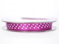 Satin ribbon spool with polka dots - violet