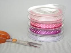 Satin ribbon spool with polka dots - violet