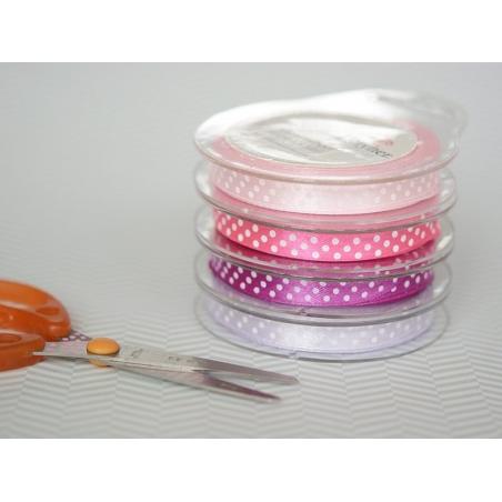 Satin ribbon spool with polka dots - lilac