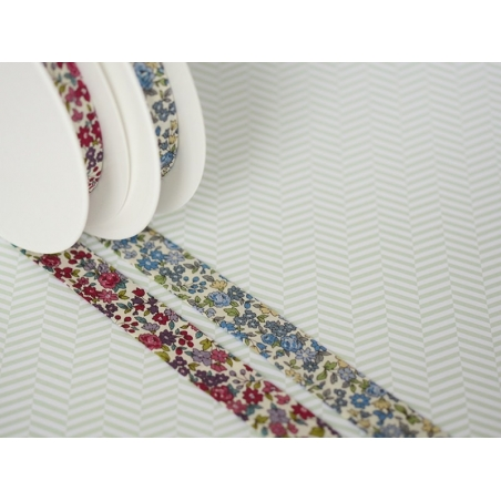 1 m of folded bias binding (20 mm) with a floral pattern - Mathilde (colour no. 15)