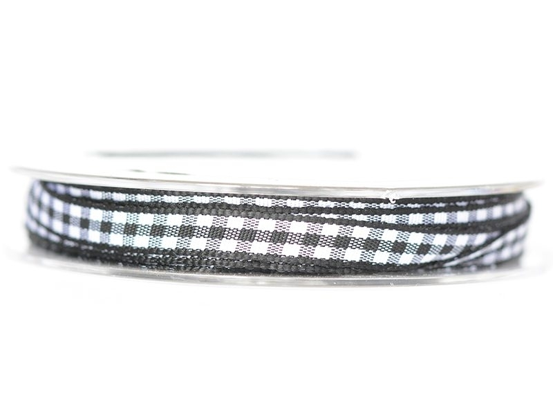 Gingham ribbon spool - black