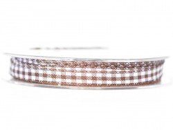 Gingham ribbon spool - dark brown