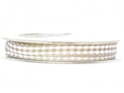 Gingham ribbon spool - light brown