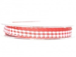 Gingham ribbon spool - red