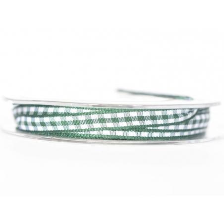 Gingham ribbon spool - fir green