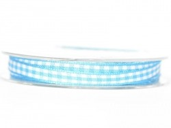 Gingham ribbon spool - turquoise