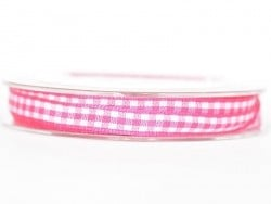 Gingham ribbon spool - dark pink