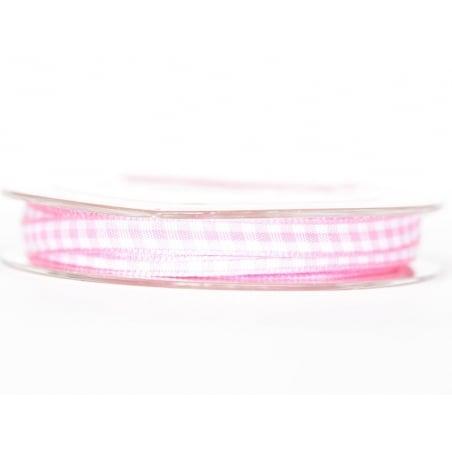 Bobine de ruban vichy - rose clair