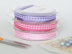Gingham ribbon spool - light pink