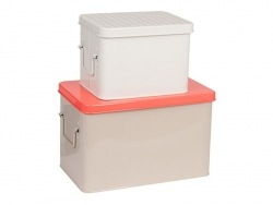 3 metal boxes - white, grey, and orange
