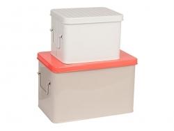 3 Metallboxen - Weiß, grau und orange