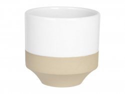 Beige and white flower pot