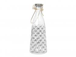 Kleine Milchflasche aus Glas im Retrolook - sechseckige Motive