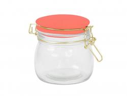 Petit bocal en verre avec couvercle orange 11 cm