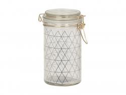 Petit bocal en verre à motif triangulaire