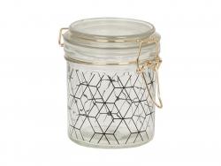 Petit bocal en verre à motif hexagonal