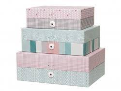 3 Kartons mit Aztekenmuster - blau und rosa