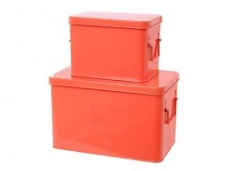 2 neonorangefarbene Metallboxen