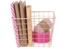 Lot de 4 paniers carrés métalliques - Orange, rose, gris, blanc