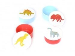 4 kleine, runde, luftdichte Vorratsdosen - Dinosaurier