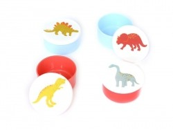 4 small, round, air-tight boxes - Dinosaurs