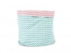 Panier en tissu motif chevron - Turquoise et Rose