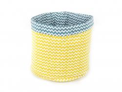 Stoffkorb mit Zickzackmuster - blau und gelb