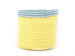 Fabric basket with a zigzag pattern - blue and yellow
