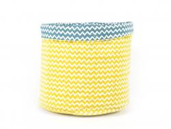 Panier en tissu motif chevron - Bleu et Jaune